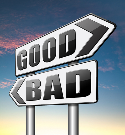 good bad a moral dilemma about values right or wrong evil or honest ethics photo