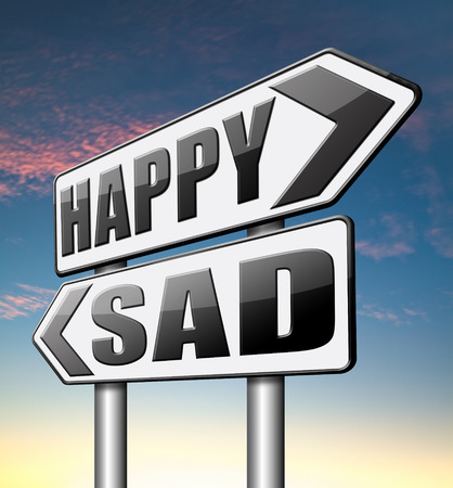 bad feeling: sad or happy joy and happiness against sadness and bad feeling