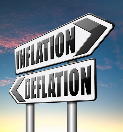 bank crisis: inflation deflation bank crisis or financial and economic recession or stock market rise