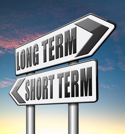 long term: long term short term planning or thinking plan and think ahead for the near and far future Stock Photo