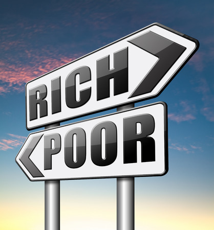 bad luck: rich or poor live in poverty or in wealth good or bad luck and fortune road sign arrow Stock Photo