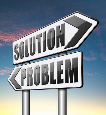 problem  solution: problem solution searching solutions by solving problems Stock Photo