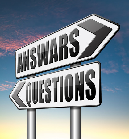 finding: question answer ask the right questions and get an answers help or support desk solving problems and finding solutions Stock Photo