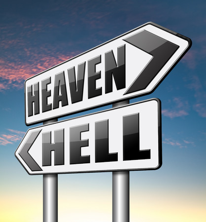 heaven or hell, good or bad devils and angels salvation from evil save your soul and spirit photo