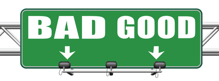good evil: good bad a moral dilemma about values and principles right or wrong evil or honest ethics legal or illegal road sign arrow Stock Photo