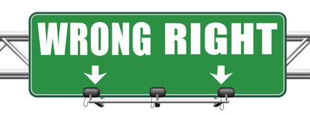 wrong way sign: right wrong answer decision correct or incorrect morally good or bad moral dilemma difficult choice or quiz and exam results choose your way road sign arrow