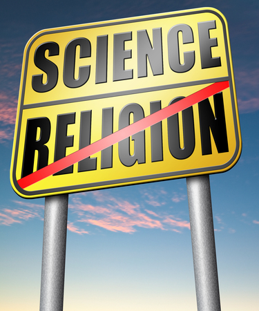 darwinism: science religion relationship between belief faith and reality evidence and proof evolution or creationism road sign arrow
