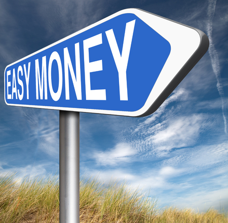 make money fast: fast easy money quick extra cash make a fortune online income road sign Stock Photo