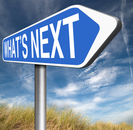 move ahead: what is next step level or move what's now making a plan or planning ahead set your goal Stock Photo