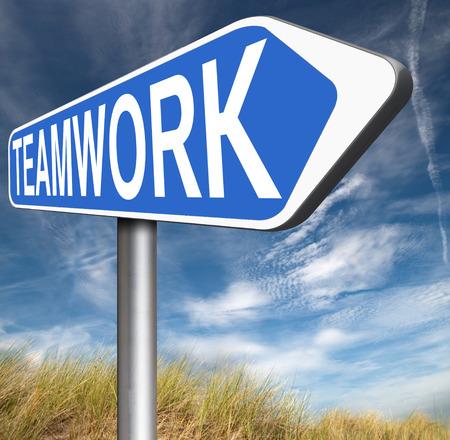 teambuilding: teamwork road sign team work and cooporation