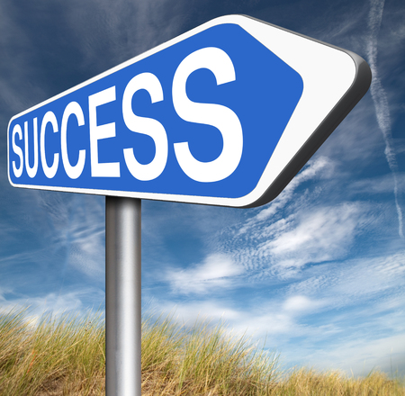 succeed: success in life business and joy succeed in plan being successful road sign concept Stock Photo