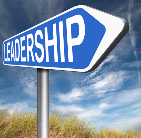 follow the leader: leadership follow team leader great natural business leader or market leader road sign arrow Stock Photo