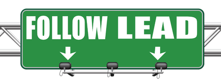 followers: follow or lead following or catch up the natural leader, leaders or followers in business chief in command or leadership leading to victory road sign Stock Photo