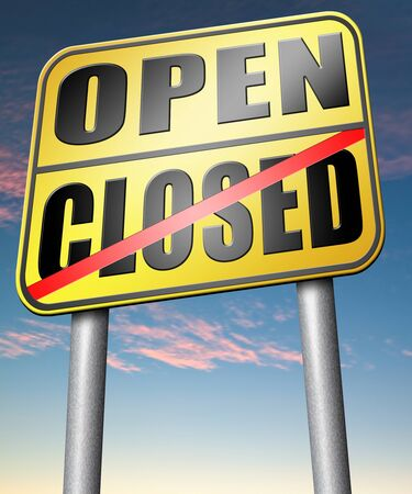 opening hours: open or close opening hours start of new season no access and closed Stock Photo