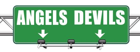 devil and angel good or evil bad heaven and hell road sign with text arrow photo