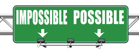 perseverance: possible impossible make it happen determination and will power to realize your dreams perseverance road sign arrow Stock Photo