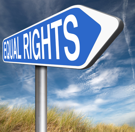 equal rights: equal rights no discrimination and same opportunities for all women man equality road sign Stock Photo