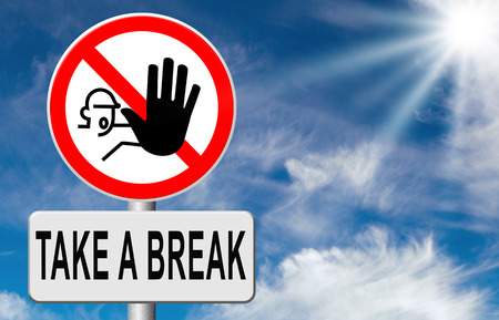 day off: take a break for lunch coffee or take a a vacation or leisure day off to rest