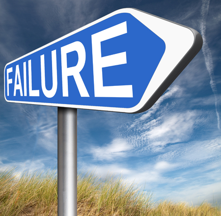 risky job: big failure ends in disaster fail exam test or other attempt failing examination is a disappointment Stock Photo