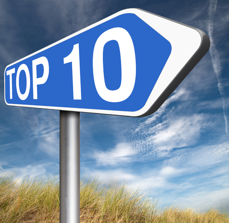 top ten: top 10 charts list pop poll result  and award winners chart ranking music hits best top ten quality rating prize winner Stock Photo