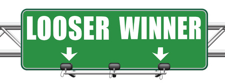 looser: winner looser win or loose the sports game or competition start winning and stop being a looser change your luck sign lottery bingo or casino victory road sign arrow Stock Photo