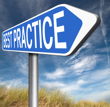 newest: best practice good available technology used by strategic management road sign arrow Stock Photo