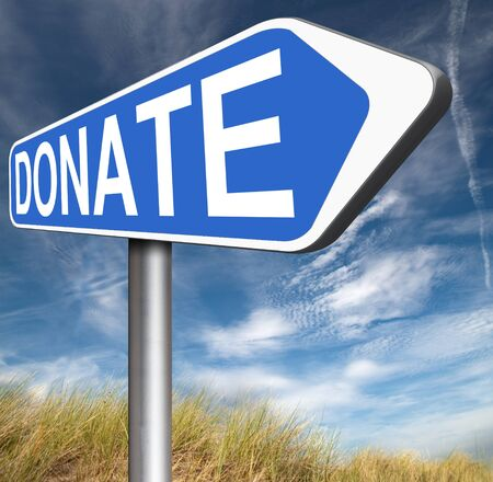 give charity: donate and give charity be generous and give donation and support Stock Photo