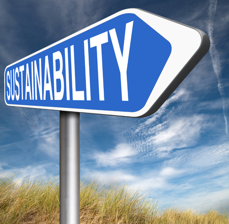 sustainable tourism: sustainability road sign arrow, sustainable and renewable green economy energy agriculture tourism products production development and business Stock Photo