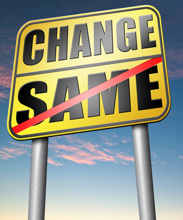 bad habits: change same repeat the old or innovate and go for progress in your life career or relationship break with bad habits road sign arrow