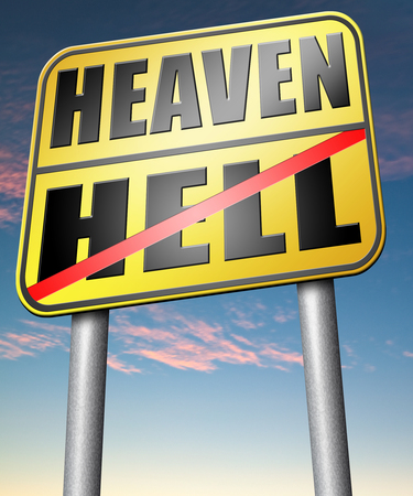 heaven and hell: heaven or hell, good or bad devils and angels salvation from evil save your soul and spirit ban the devil and demons search and find Jesus and God Stock Photo