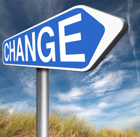 life change: change life or world take another direction with changes for the best now changing road sign Stock Photo