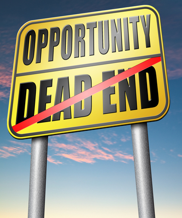 irrelevant: opportunity or dead end with no future find a better choice for business way or road towards success or disaster Stock Photo
