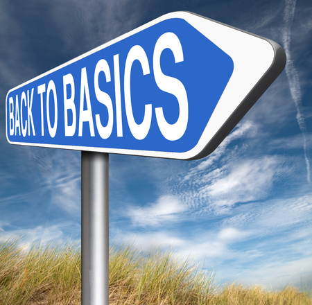 basics: Back to basics to the beginning keep it simple and basic primitive simplicity Stock Photo