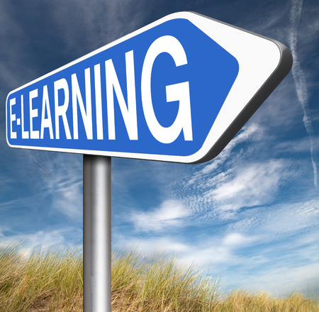 virtual school: e-learning online education road sign arrow internet classes learning in open school or university virtual elearning