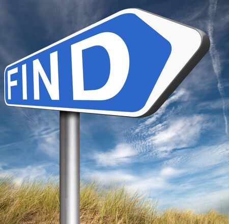 discover: find answers and finding solution to solve problems search and discover truth road sing Stock Photo