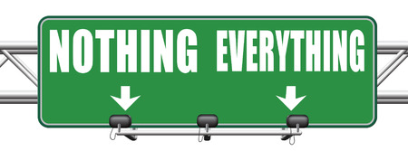 bet: everything or nothing take it all or leave it risky bet risk to lose road sign arrow