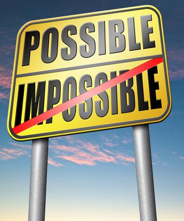 realiseren: kan onmogelijk laten gebeuren vastberadenheid en wilskracht om uw dromen te realiseren doorzettingsvermogen Stockfoto