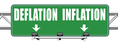 bank crisis: inflation deflation bank crisis or financial and economic recession or stock market crash or rise road sign arrow Stock Photo