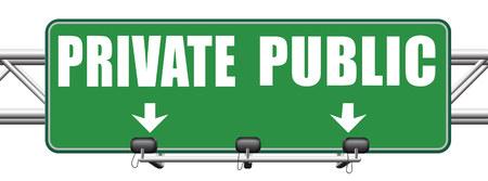 public insurance: public or private school hospital area property domain or insurance road sign Stock Photo