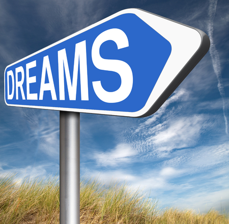 accomplish: dreams realize and make your dream come true be successful and accomplish your goals  or  with text and word concept Stock Photo