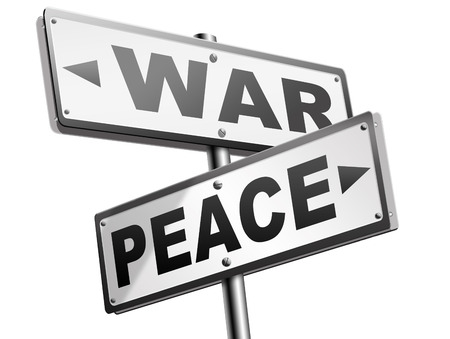 pacifism: make love not war fight for peace stop conflict and say no to terrorism pacifism road sign Stock Photo