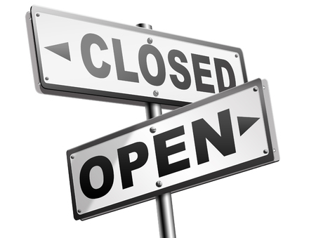 open or close opening hours or closing time start of new season or beginning no access and file or case closed Foto de archivo