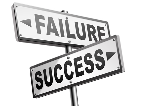 success or failure being successful in life and business road sign arrow