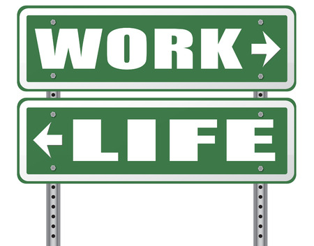leisure time: work life balance burnout stress test importance of career versus family leisure time and friends workaholic road sign arrow