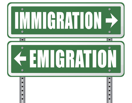migration: immigration or emigration political or economic migration by refugees or moving across the border by economic migrants sign