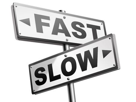 slower: fast or slow pace, lane or living faster or slower speed stop rat race and adapt to slower lifestyle take your time do it easy road sign arrow
