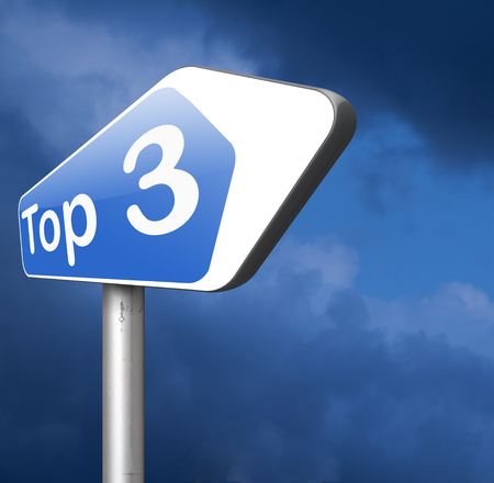 poll: top 3 chart pop poll results ranking of quiz or sport results Stock Photo