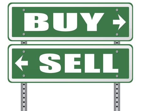 market share: buy or sell market share buying or selling on stock market exchange international trade road sign text Stock Photo