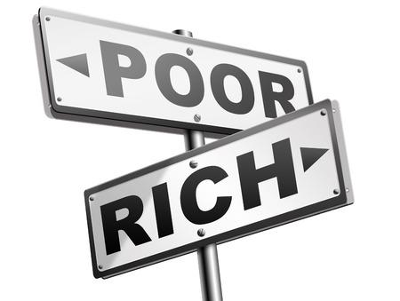 mala suerte: rico o pobre toma de riesgos financieros en directo en la riqueza buena o mala suerte y cambiar la fortuna flecha ricos o la pobreza se�al de tr�fico Foto de archivo