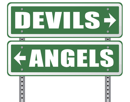 good evil: devil and angel good or evil bad heaven and hell road sign with text arrow Stock Photo